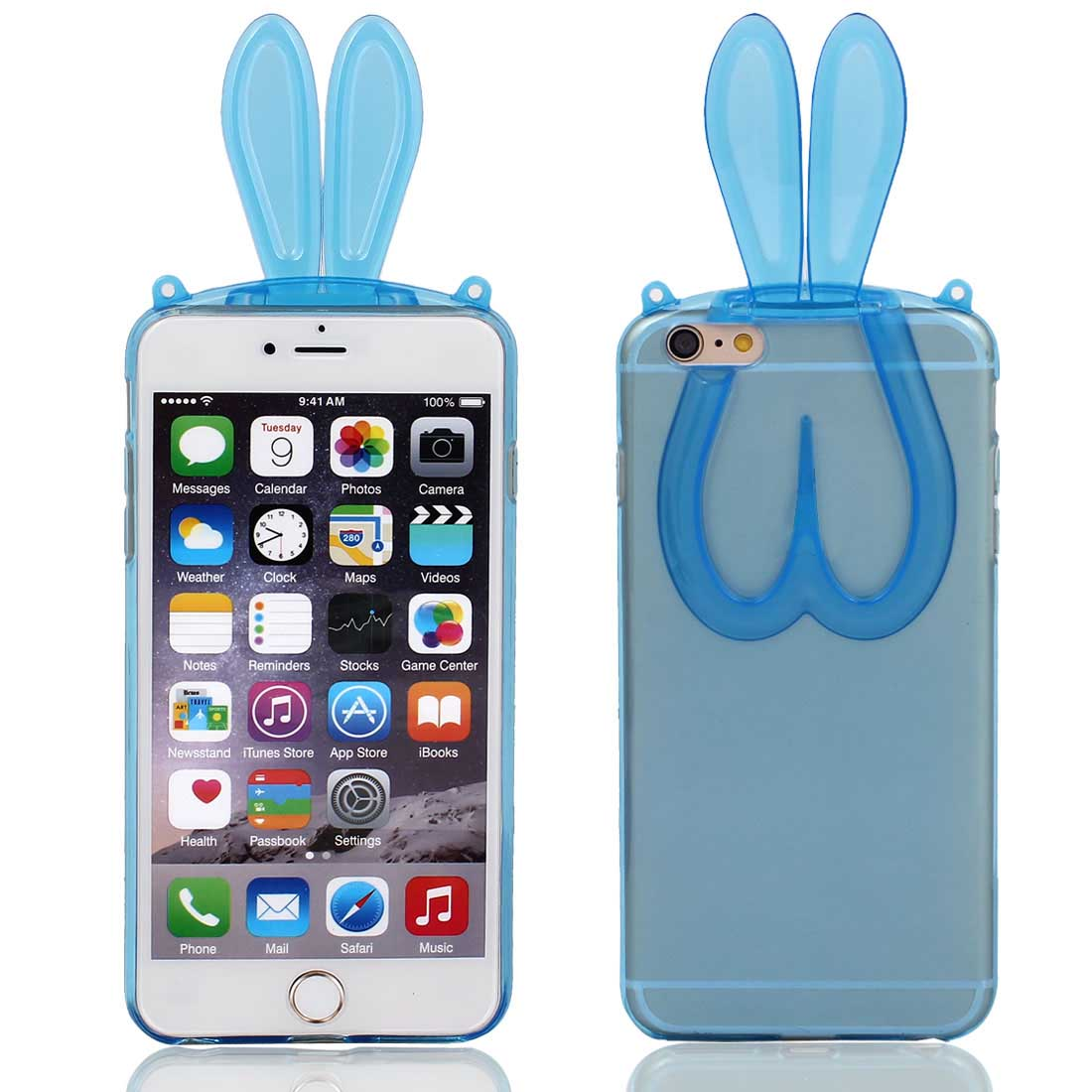 Silicone Rabbit Ear Style Phone Cover Clear Blue for iPhone 6 Plus 5.5""