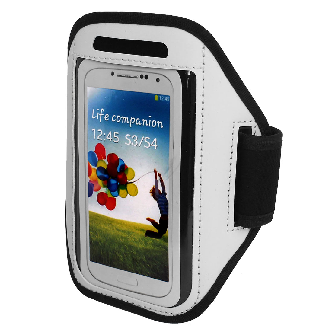 Outdoor Jogging Running Sports Armband Case Cover White for S3 S4 i9300 i9500