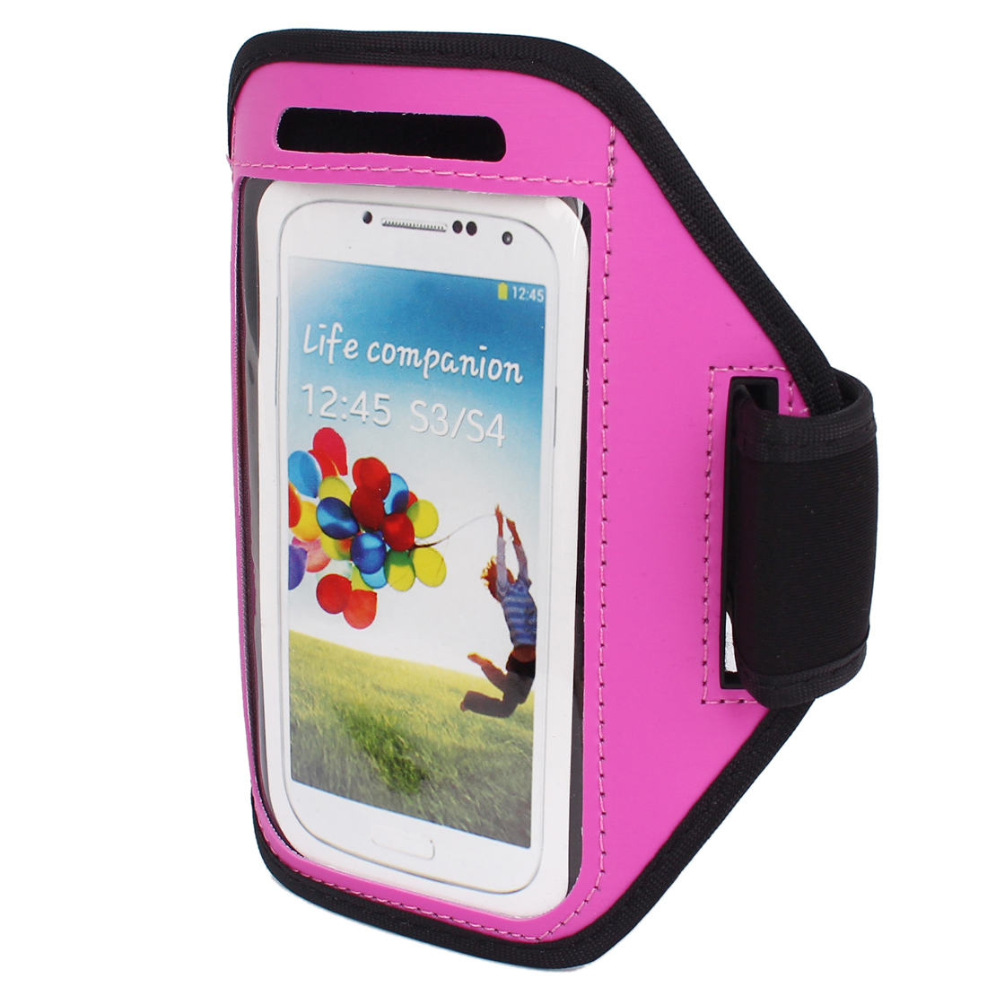 Outdoor Jogging Running Sports Armband Case Cover Fuchsia for S3 S4 i9300 i9500