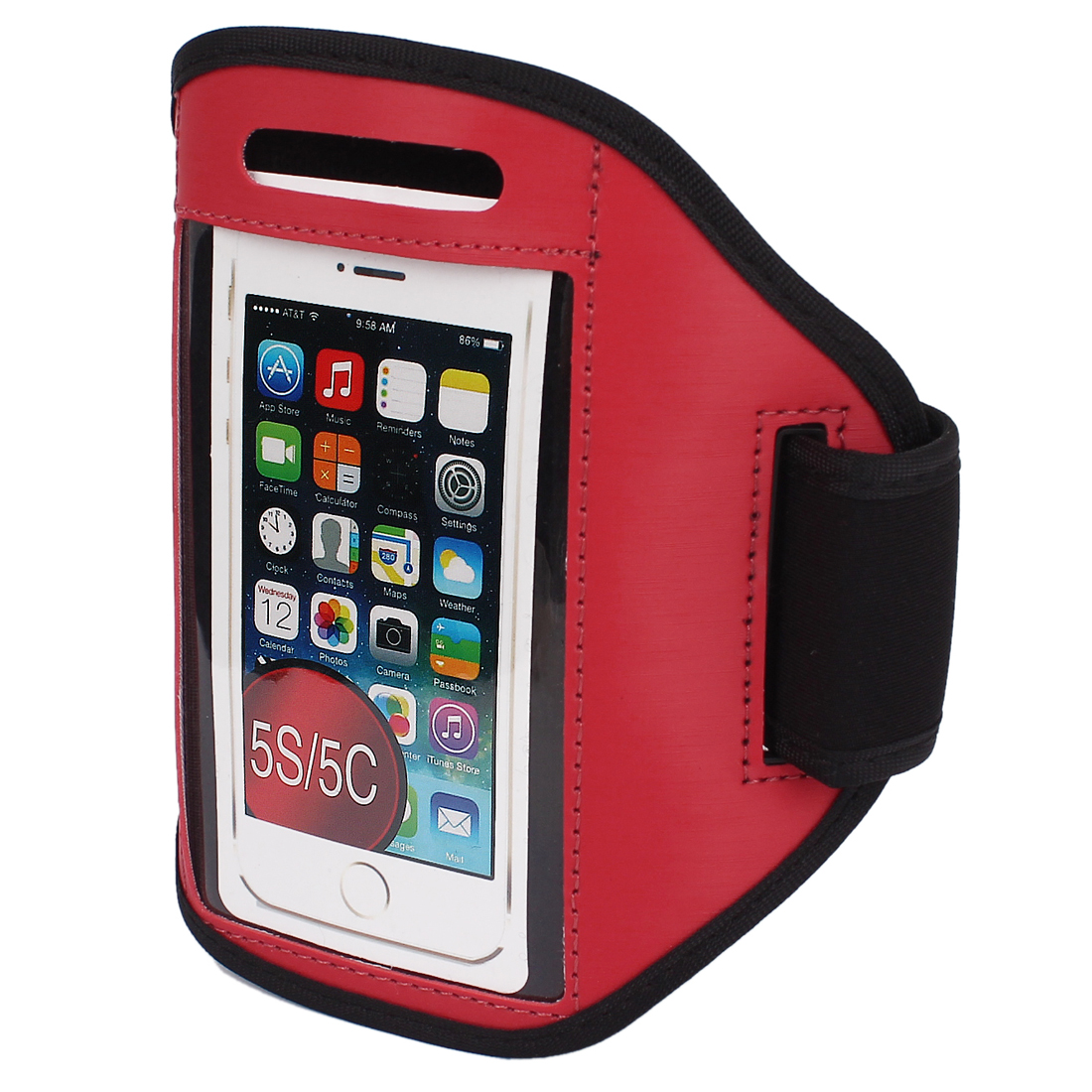 Sports Running Jogging Gym Armband Case Cover Holder Red for iPhone 5 5C 5S