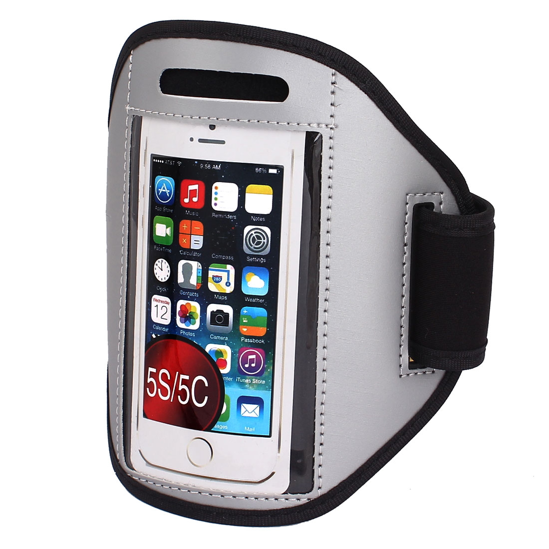 Sports Running Jogging Gym Armband Case Cover Holder Gray for iPhone 5 5C 5S