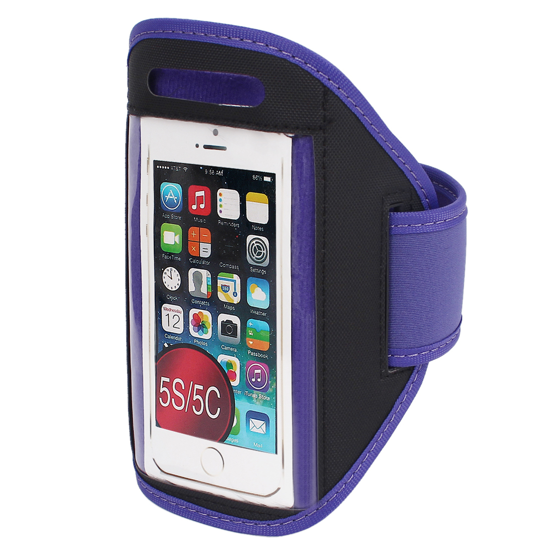 Sports Running Jogging Gym Armband Case Cover Holder Purple for iPhone 5 5C 5S