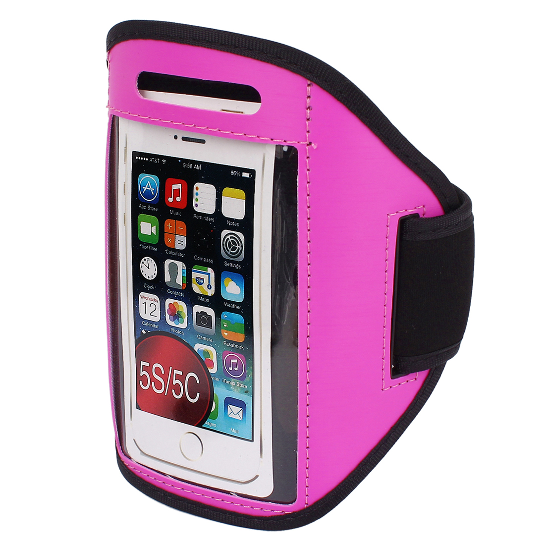 Sports Running Jogging Gym Armband Case Cover Holder Fuchsia for iPhone 5 5C 5S