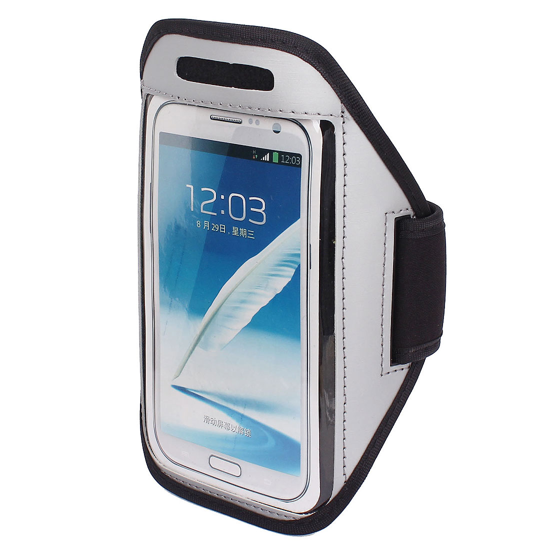 Sports Running Jogging Gym Armband Pouch Case Cover Holder Gray for Note 2 3