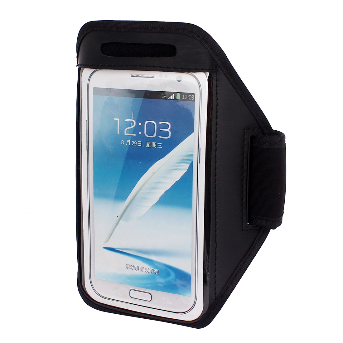 Sports Running Jogging Gym Armband Pouch Case Cover Holder Black for Note 2 3
