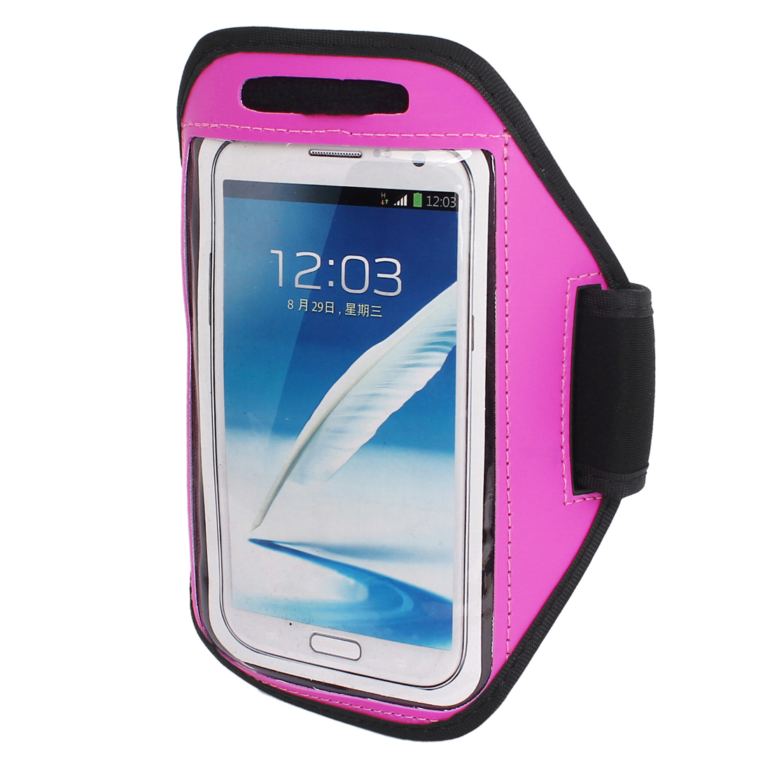 Sports Running Jogging Gym Armband Pouch Case Cover Holder Fuchsia for Note 2 3