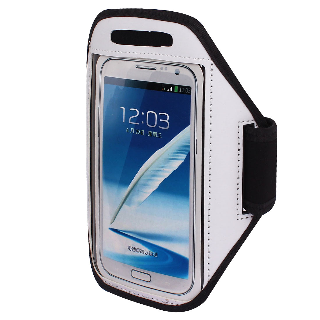 Sports Running Jogging Gym Armband Pouch Case Cover Holder White for Note 2 3