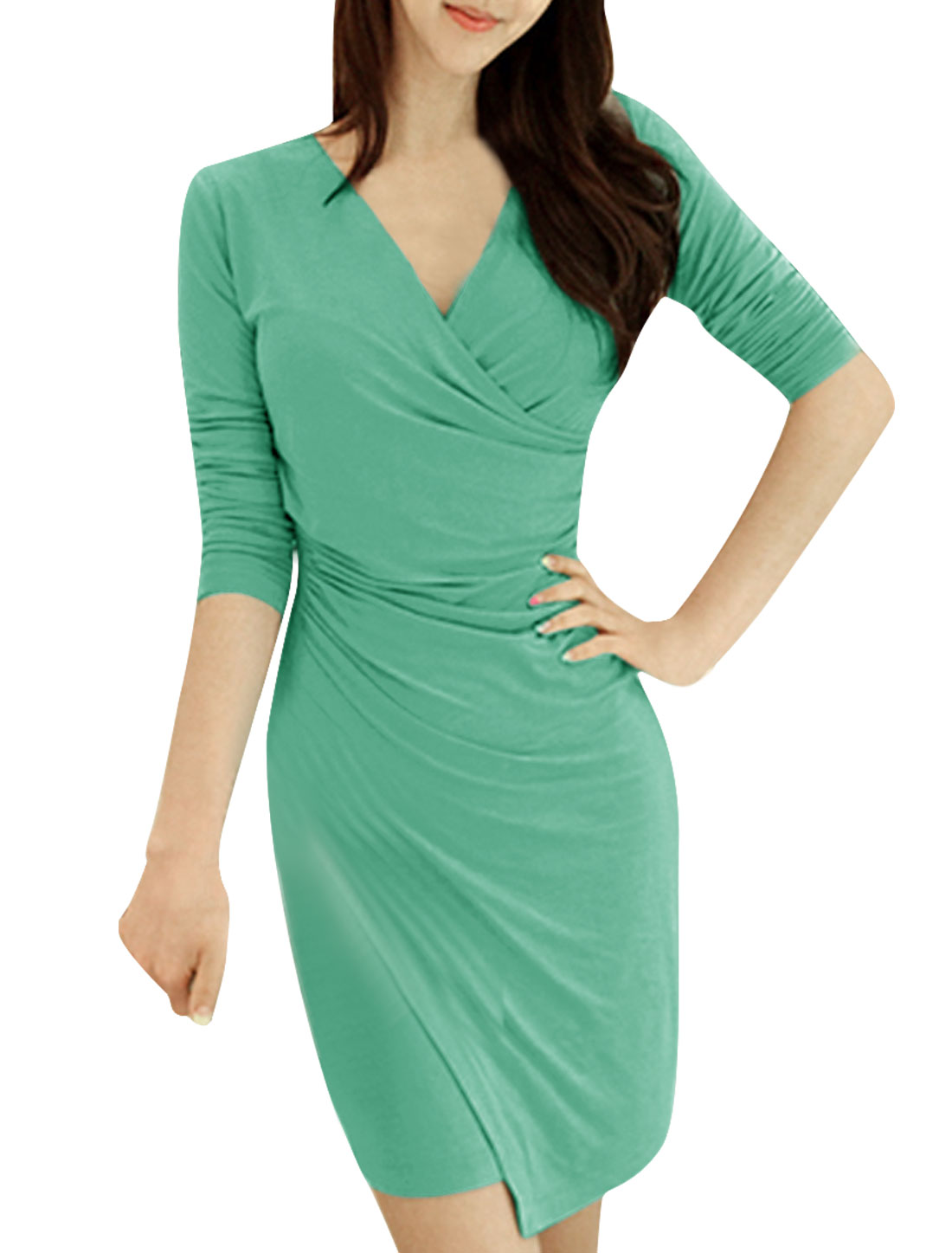 Woman Crossover V Neck Ruched Detail Long Sleeves Bodycon Dress Green S