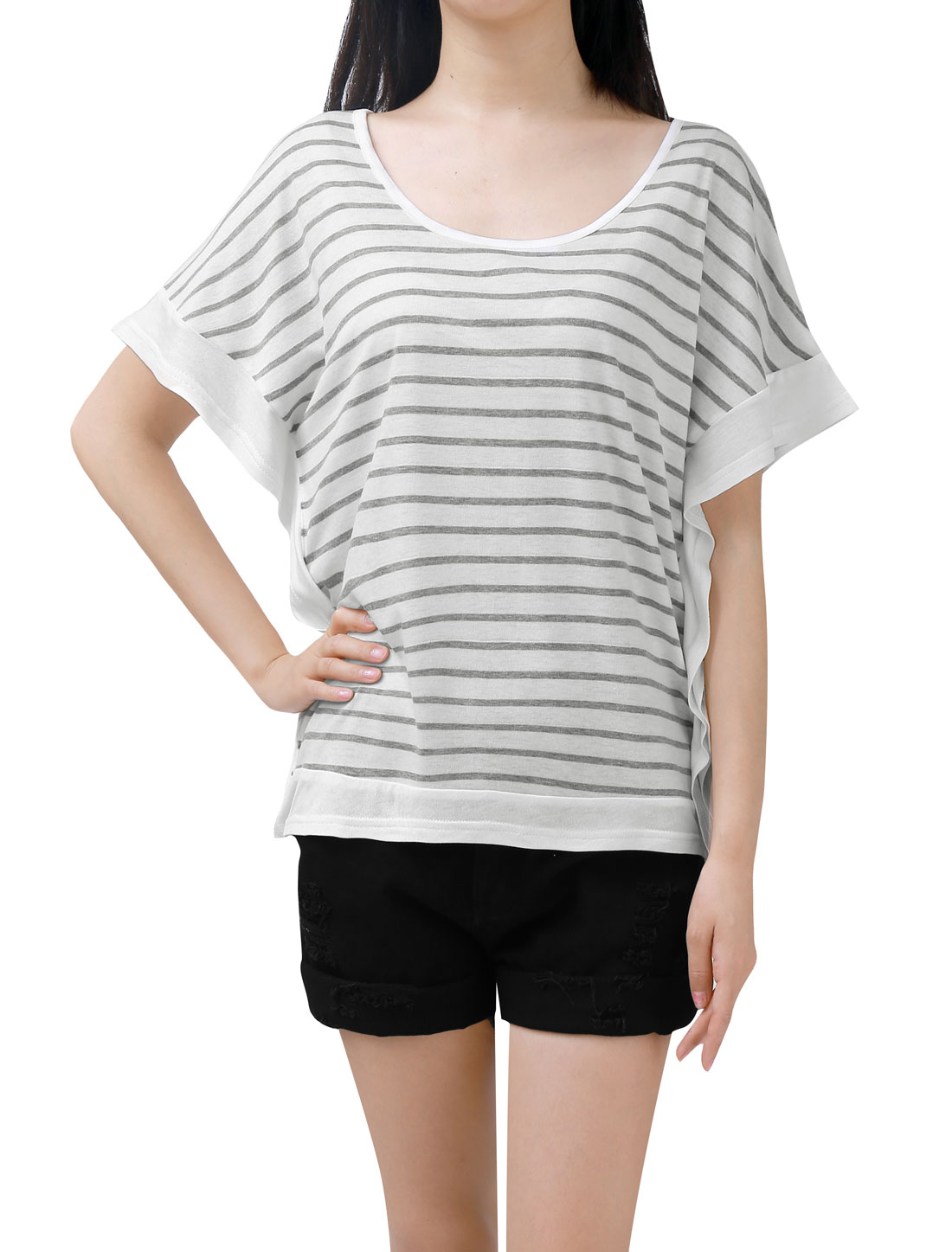 Women Poncho Sleeves Scoop Neck Loose Fit Striped T-shirt White Gray XS