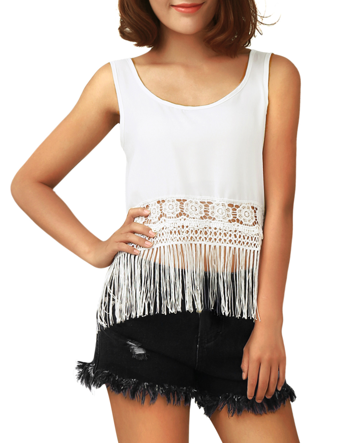 Women Sleeveless Tassels Hem Design Chiffon Tank Top White S