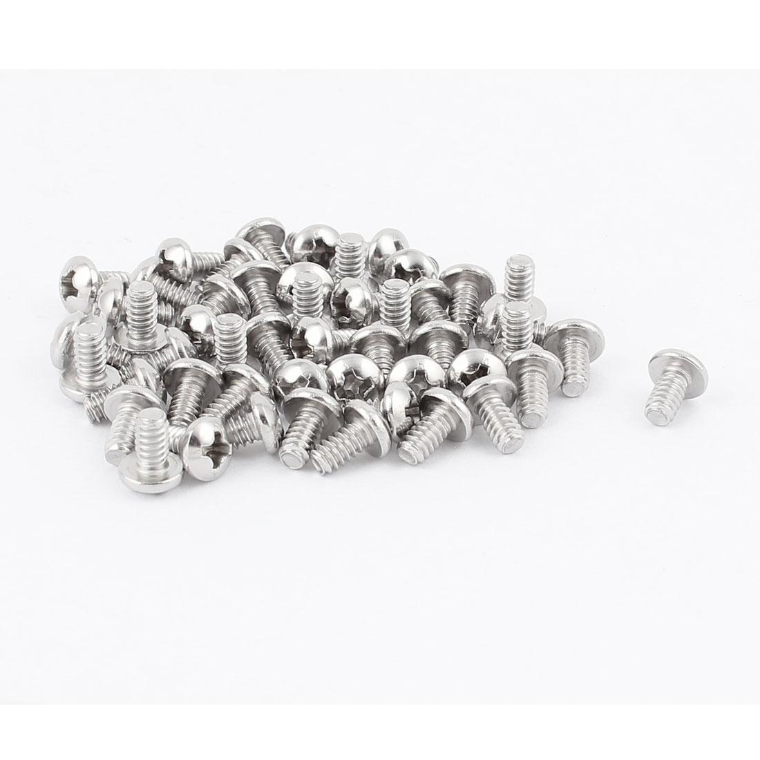 "50 Pcs #6-32 x 1/4"" Stainless Steel Phillips Truss Head Machine Screws Fasteners"