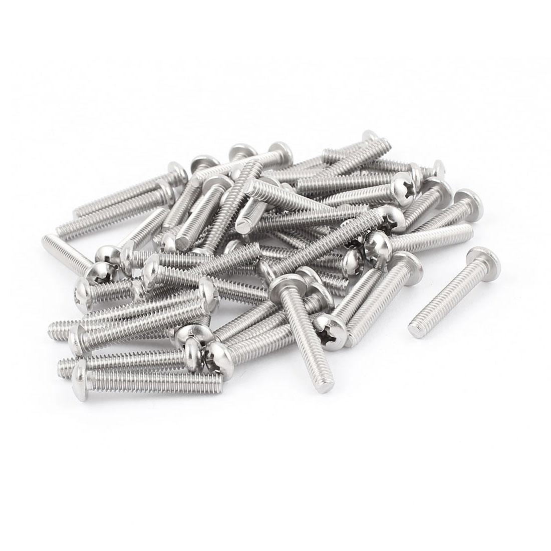 "50 Pcs #6-32 x 5/8"" Stainless Steel Phillips Truss Head Machine Screws 18mm Long"