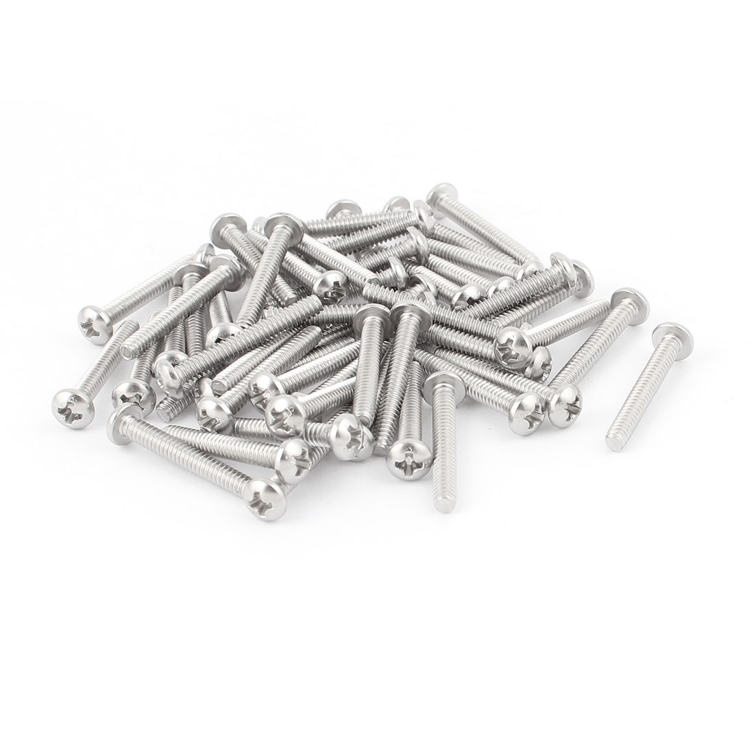 "50 Pcs #6-32 x 1"" Stainless Steel Phillips Truss Head Machine Screws 27mm Long"