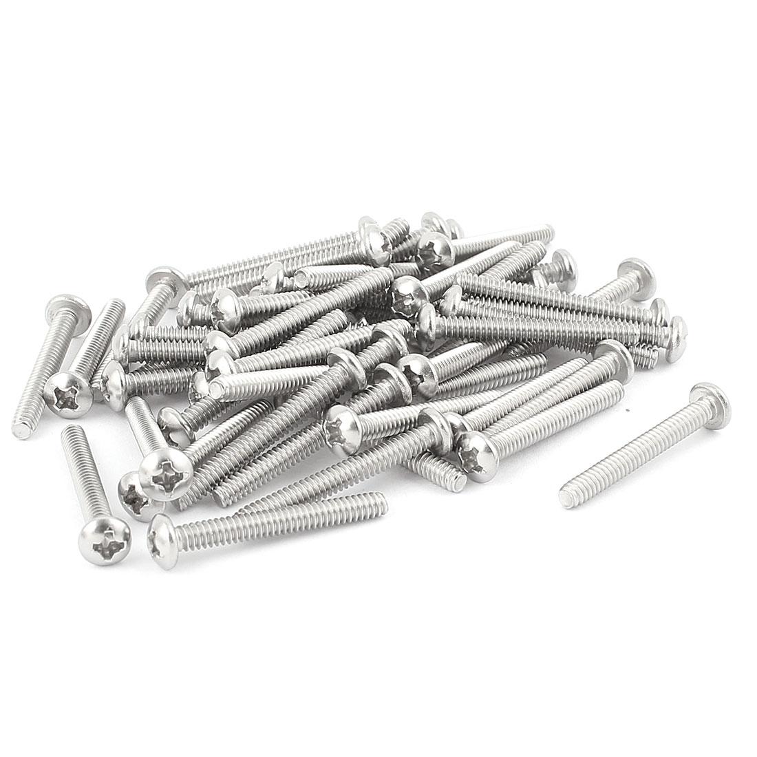 "50 Pcs #6-32 x 1 1/8"" Stainless Steel Phillips Truss Head Bolts Machine Screws"