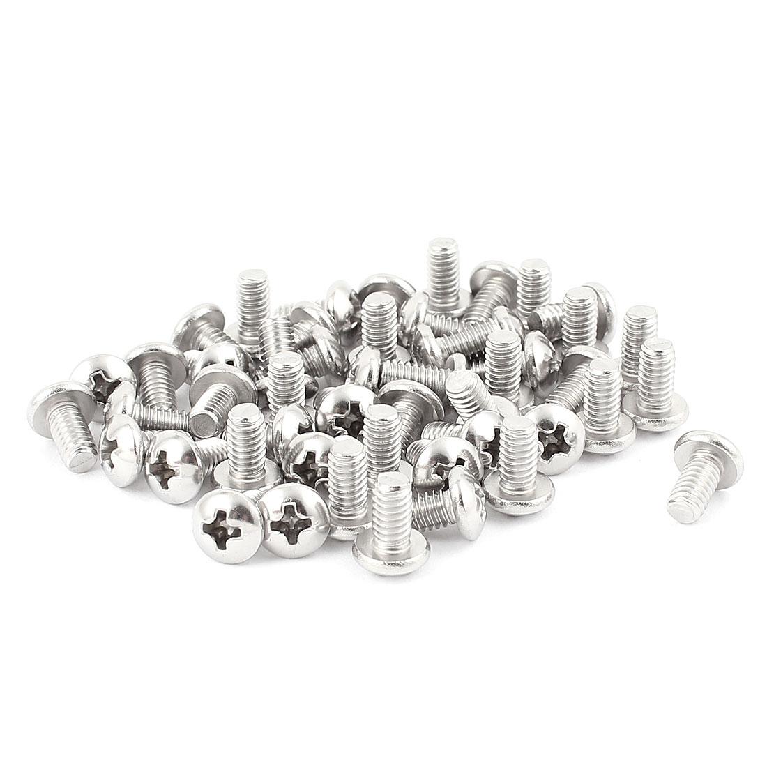 "50 Pcs Stainless Steel Phillips Truss Head Bolts Machine Screws #8-32 x 5/16"""