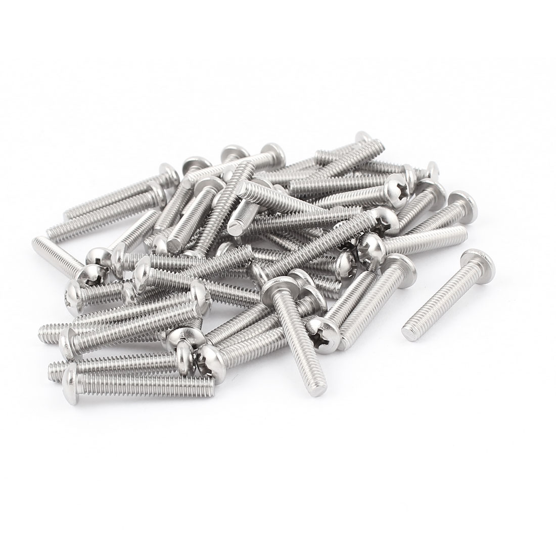 50pcs M4x25mm Stainless Steel Truss Head Bolts Phillips Machine Screw Fasteners