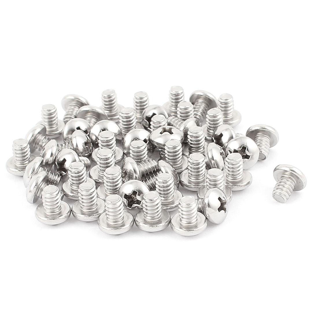 "50pcs Stainless Steel Phillips Truss Head Machine Screws Fasteners #10-24 x 1/4"""