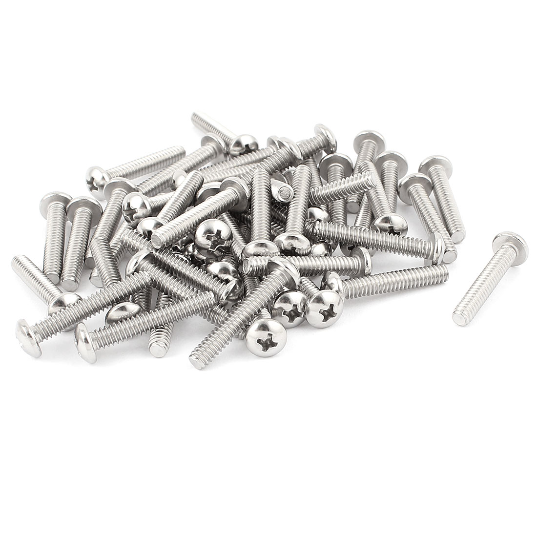 "50 Pcs 10#-24 x 1 1/8"" Stainless Steel Phillips Round Head Machine Screws Bolts"
