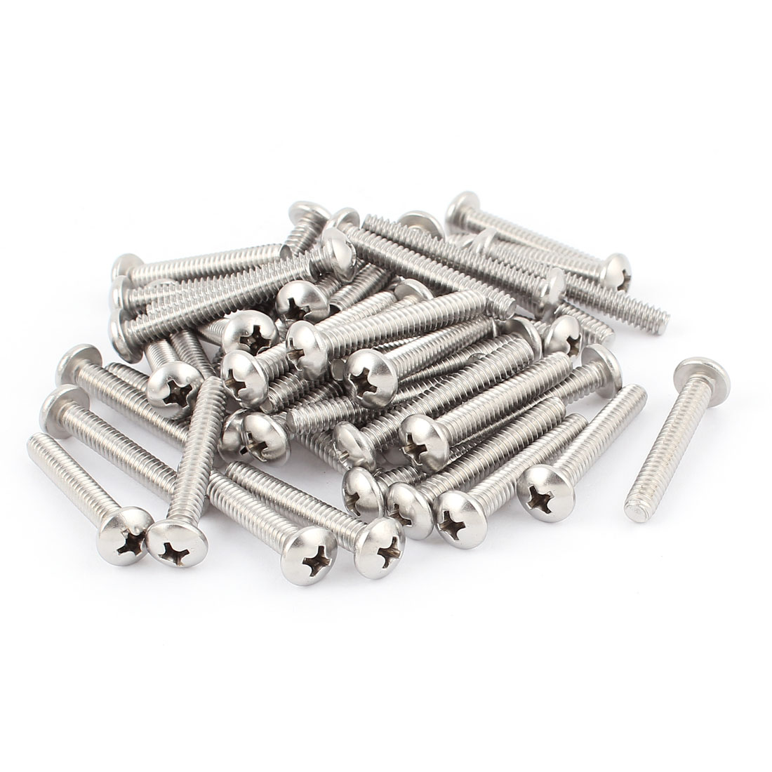 "50 Pcs #10-24 x 1 1/4"" Stainless Steel Round Phillips Truss Head Machine Screws"