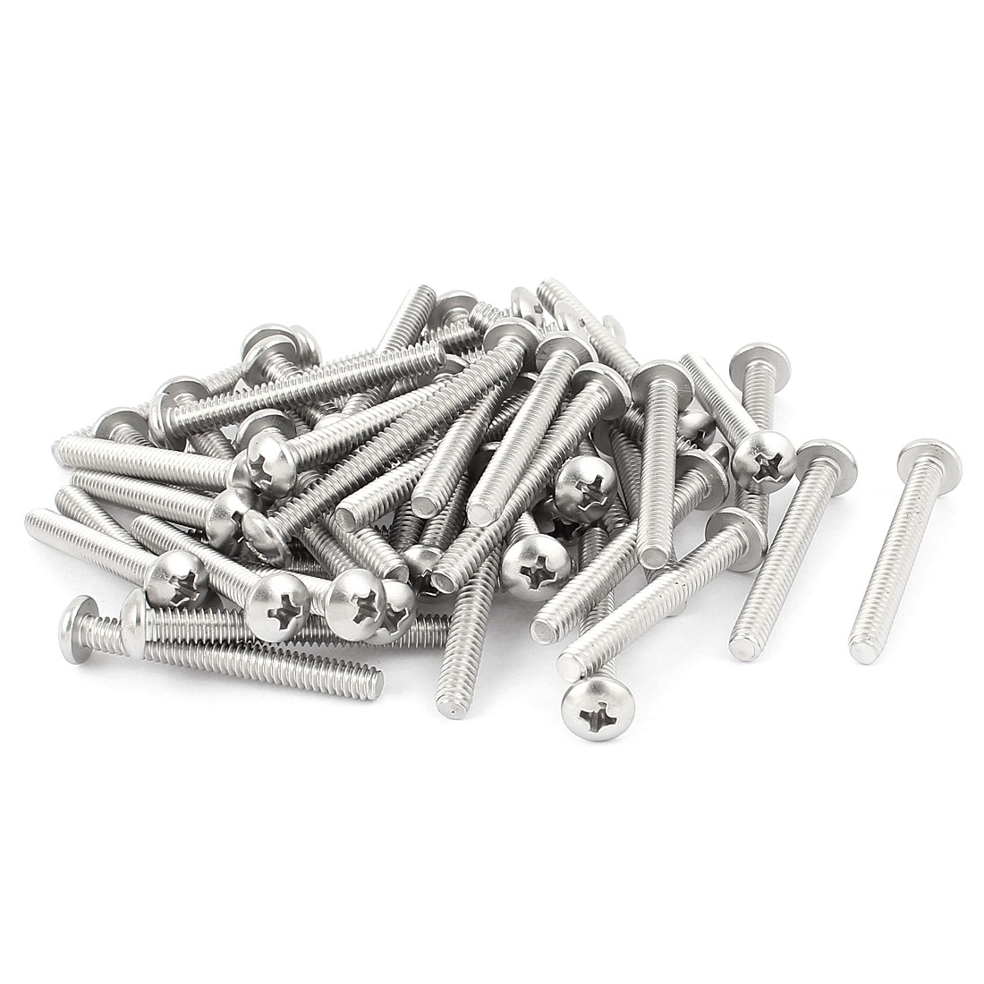 50 Pcs Stainless Steel Phillips Truss Head Bolts Machine Screws #10-24 x 1-5/8""