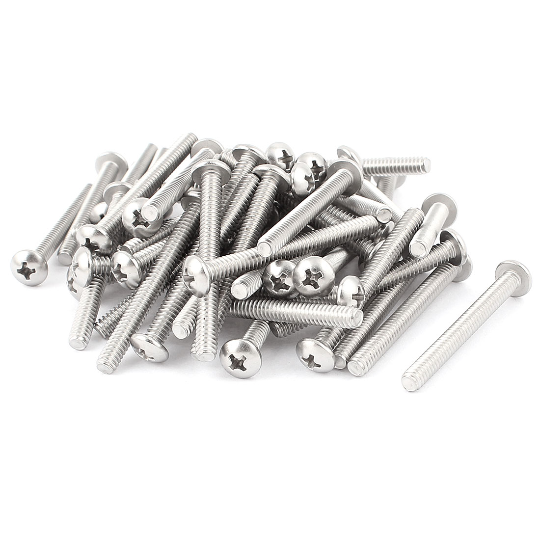 50 Pcs Stainless Steel Phillips Truss Head Machine Screws Bolts #10-24 x 1 7/8""