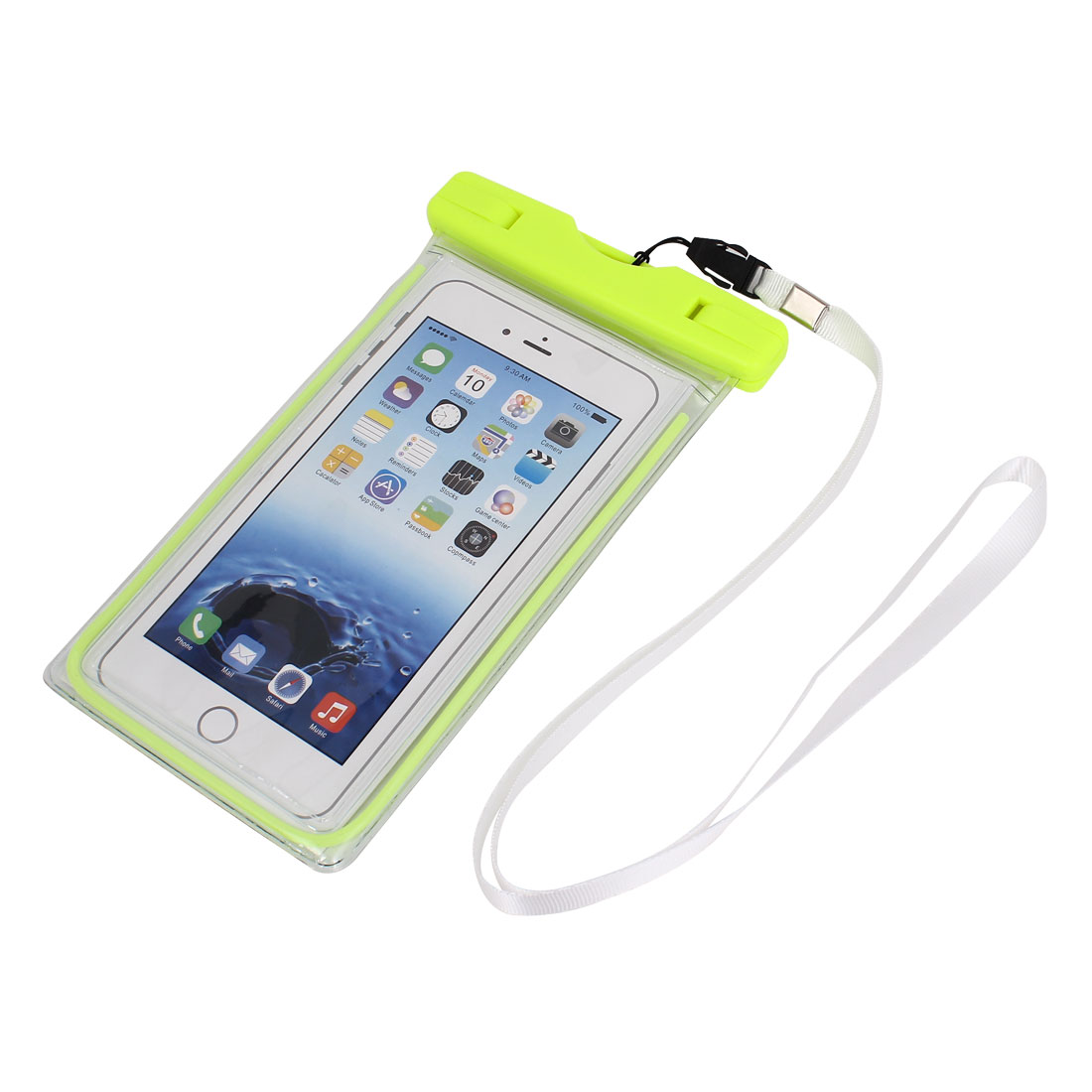 Waterproof Luminous Bag Holder Pouch Yellow for iPhone 6 Plus w Neck Strap