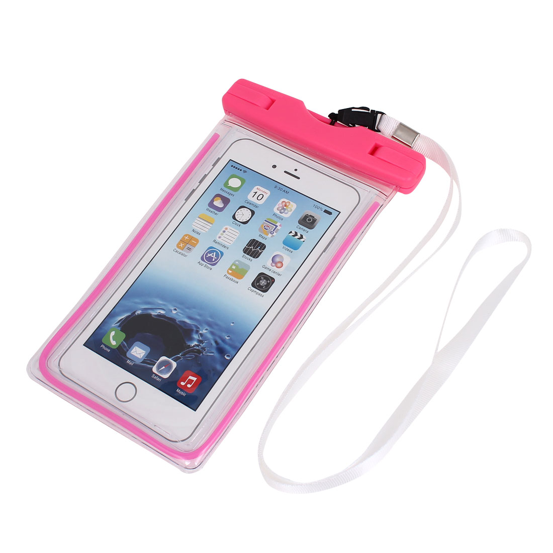 Waterproof Luminous Bag Holder Pouch Pink for iPhone 6 Plus w Neck Strap