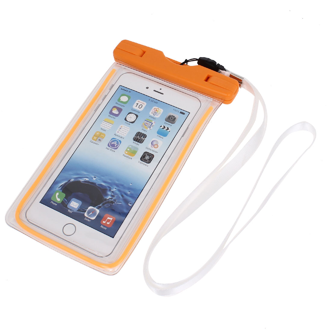 Waterproof Luminous Bag Holder Pouch Orange for iPhone 6 Plus w Neck Strap