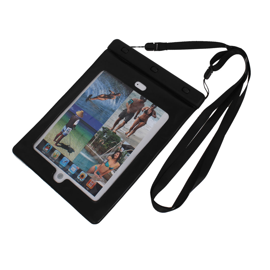 Waterproof Pouch Bag Case Black for iPad Air 2 w Neck Strap Earphone