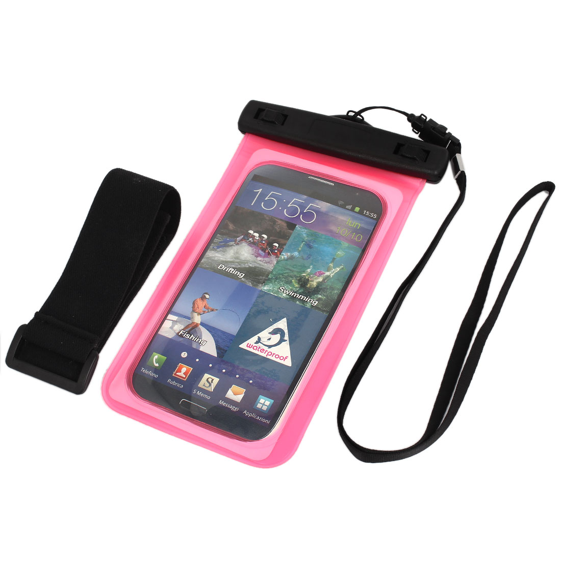 Waterproof Bag Holder Pink for iPhone 6plus w Neck Strap Armband