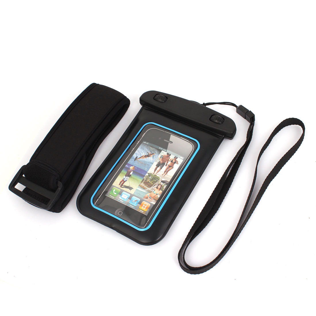 Waterproof Pouch Dry Bag Case Blue for iPhone6 w Neck Strap Armband