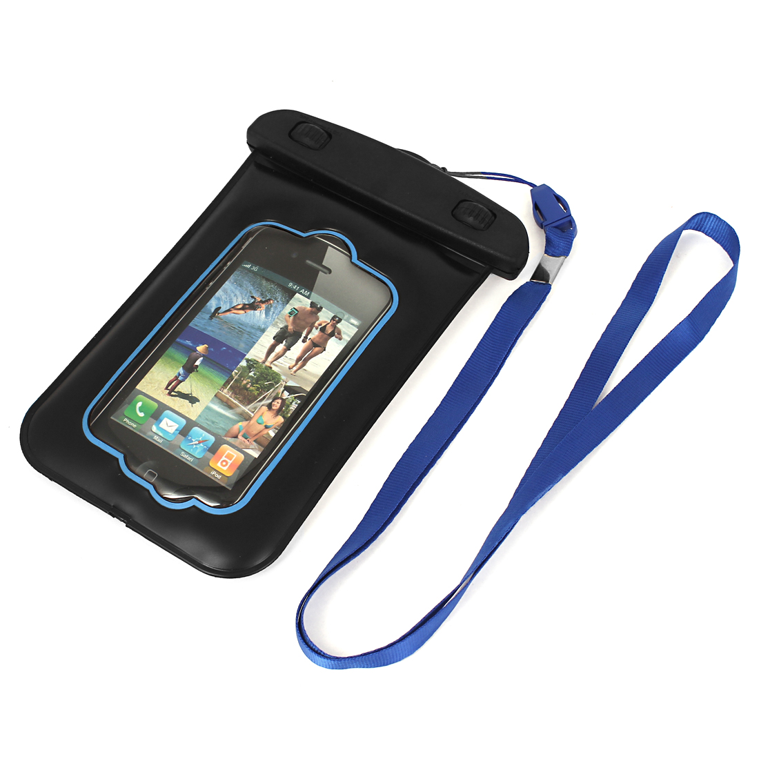 Waterproof Bag Holder Pouch Blue for 4G w Neck Strap