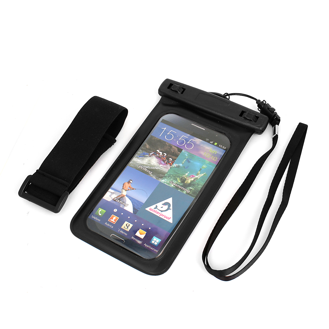 Waterproof Bag Holder Black for iPhone 6plus w Neck Strap Armband