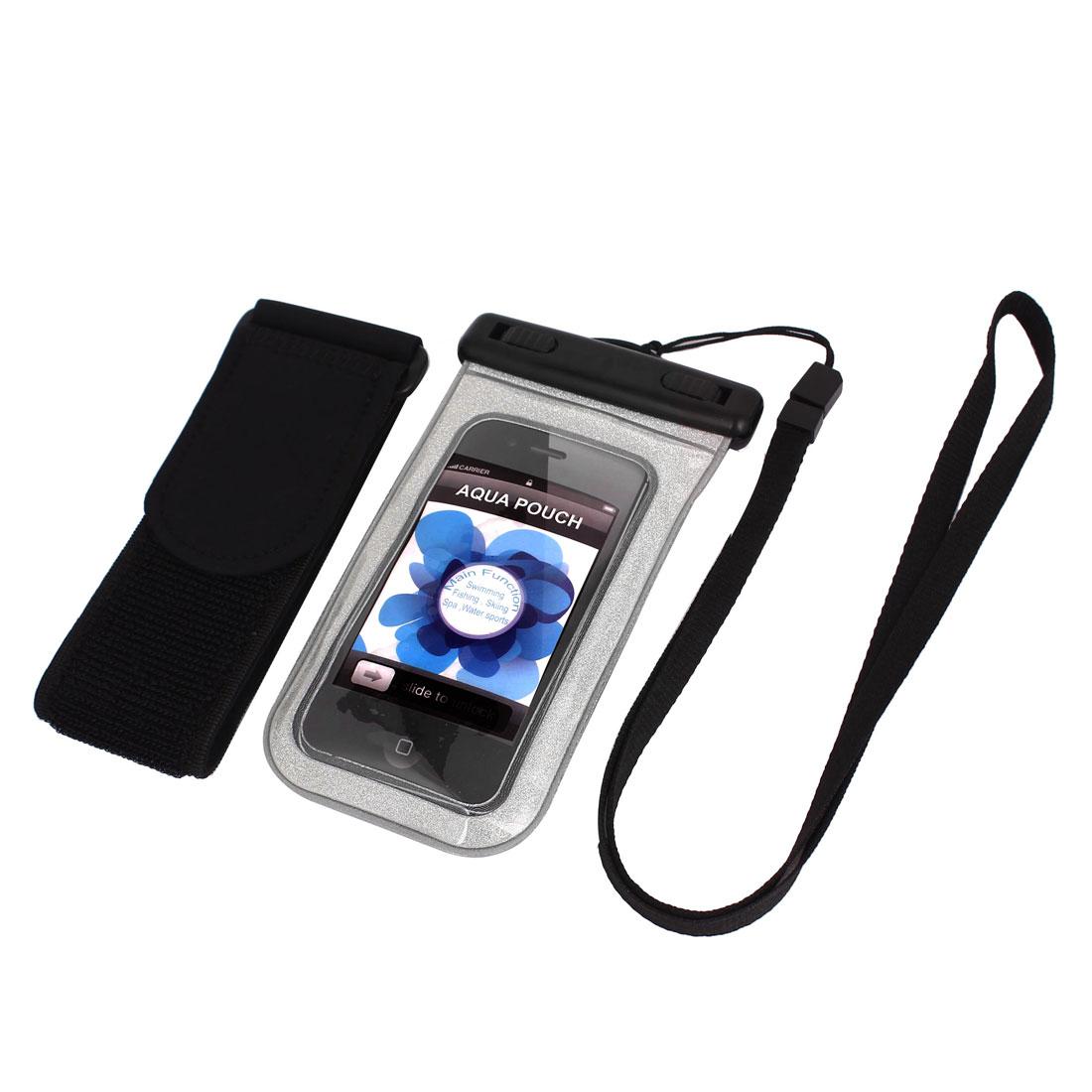 "Waterproof Swimming Pouch Bag Silver Tone for 4"" Cell Phone w Arm Band"