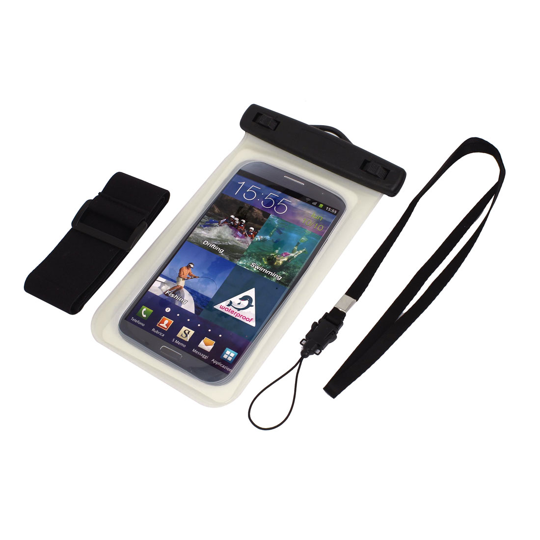 Waterproof Bag Holder Pouch Clear for iPhone 6plus w Neck Strap Armband