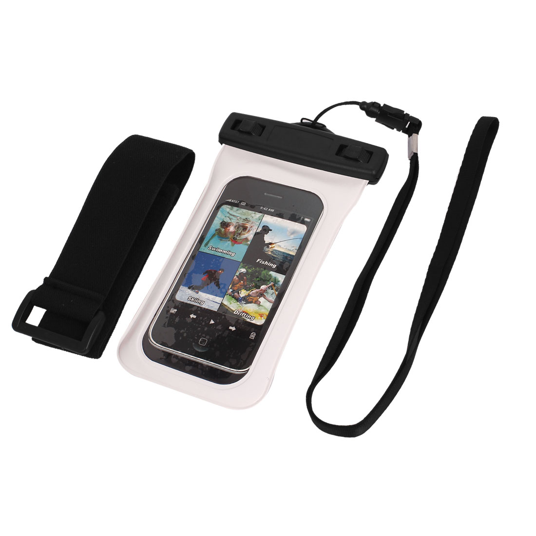 "Underwater Waterproof Case Dry Bag Cover Pouch White + Strap for 4"" Cell Phone"
