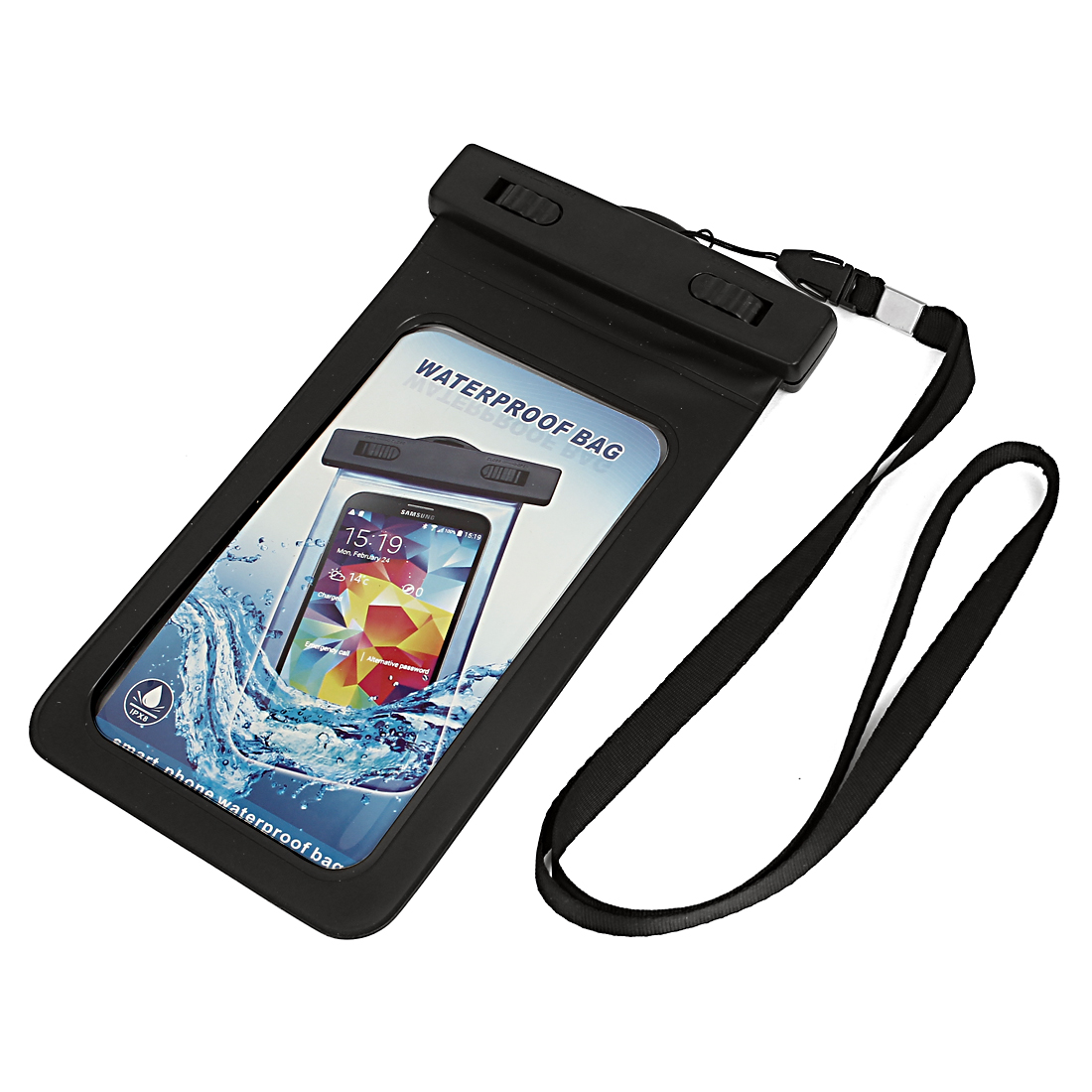 "Waterproof Bag Holder Pouch Black for 5.5"" Mobile Phone w Neck Strap"