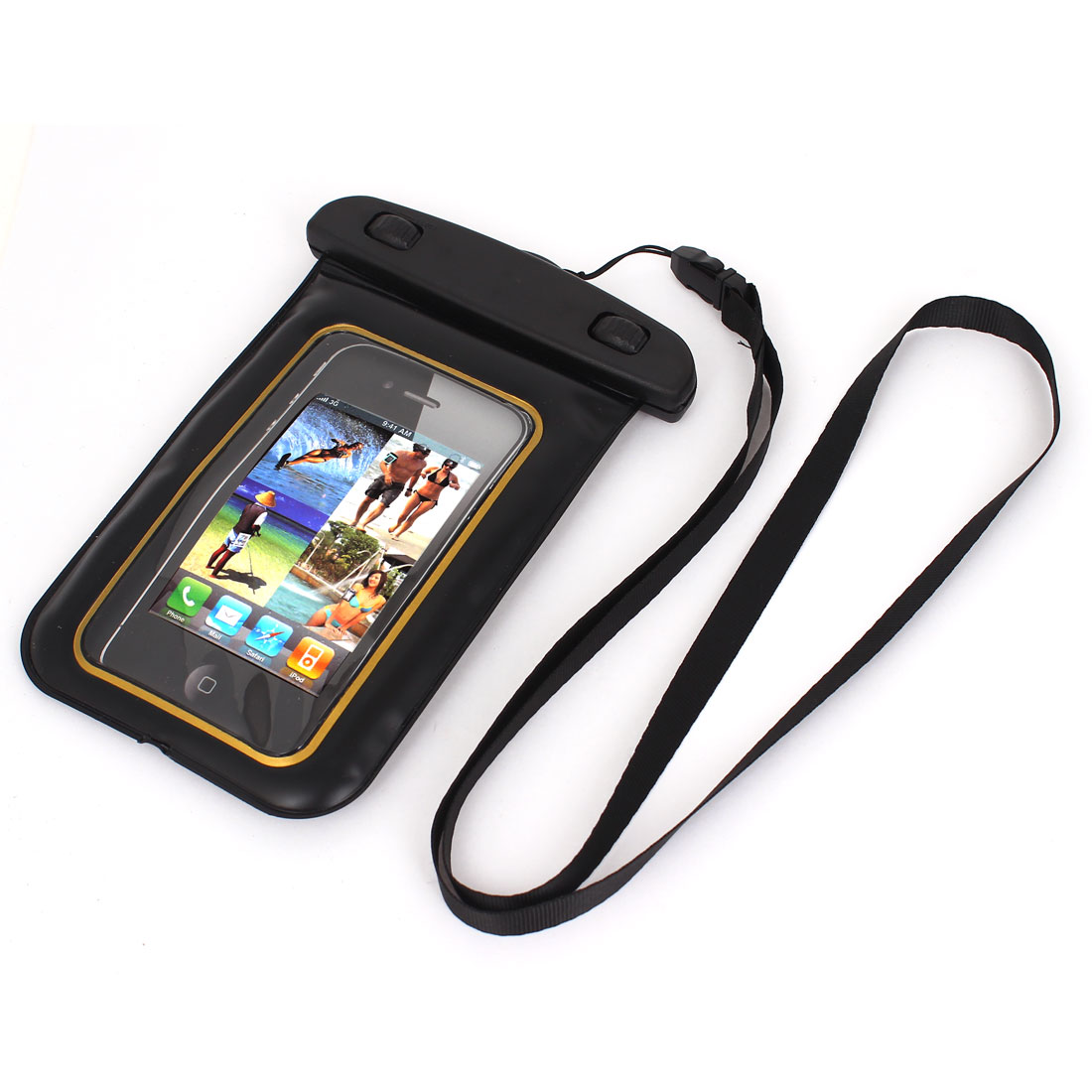 "Waterproof Pouch Bag Case Gold Tone for 4.5"" Cell Phone w Neck Strap"