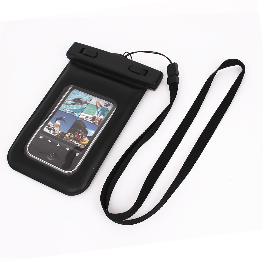 Waterproof Swimming Pouch Dry Bag Case Black for iPhone 4G w Neck Strap