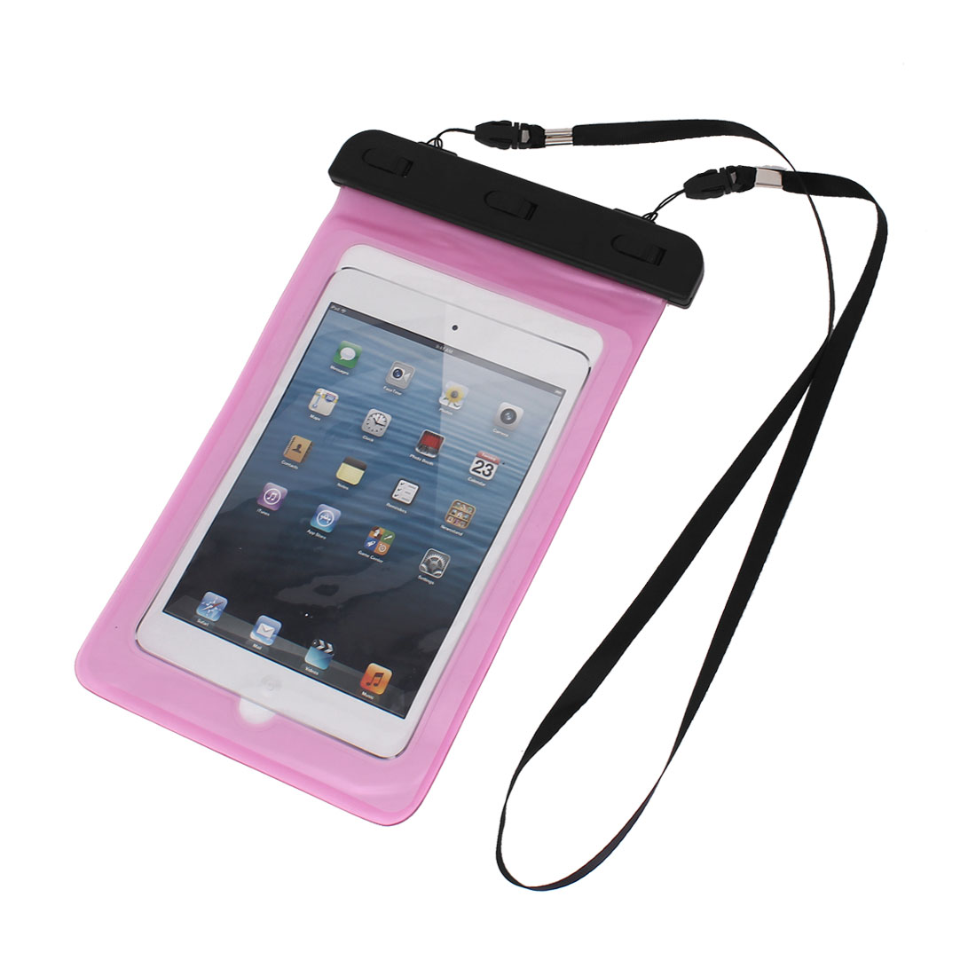 Waterproof Bag Case Holder Pouch Pink for iPad mini2/3 w Neck Strap