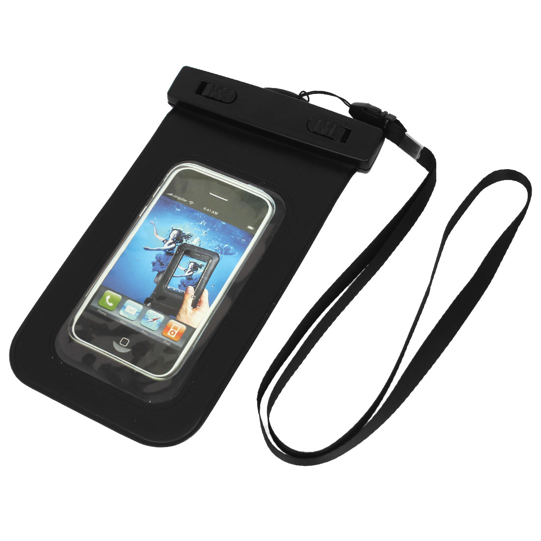 "Waterproof Pool Pouch Bag Case Black for 4.5"" Cell Phone w Neck Strap"