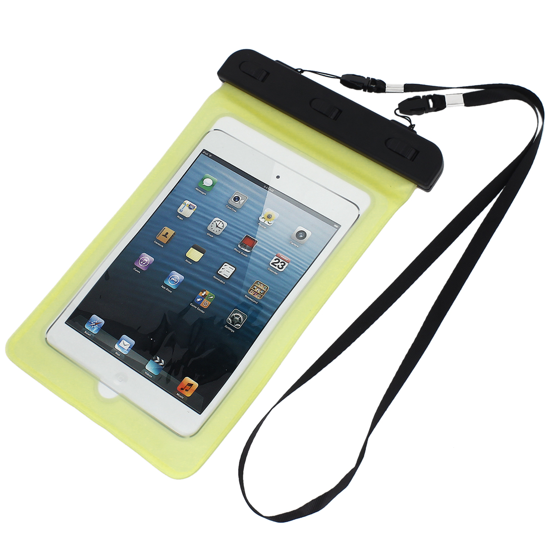 Waterproof Bag Case Holder Pouch Yellow for iPad mini2/3 w Neck Strap