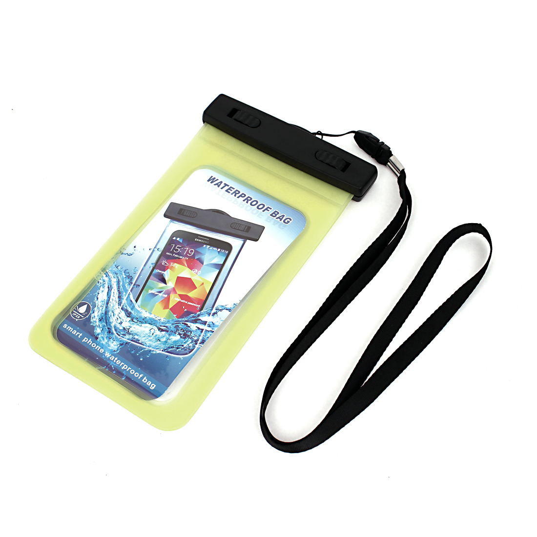 """Waterproof Bag Holder Pouch Yellow for 5.5"""" Mobile Phone w Neck Strap"""
