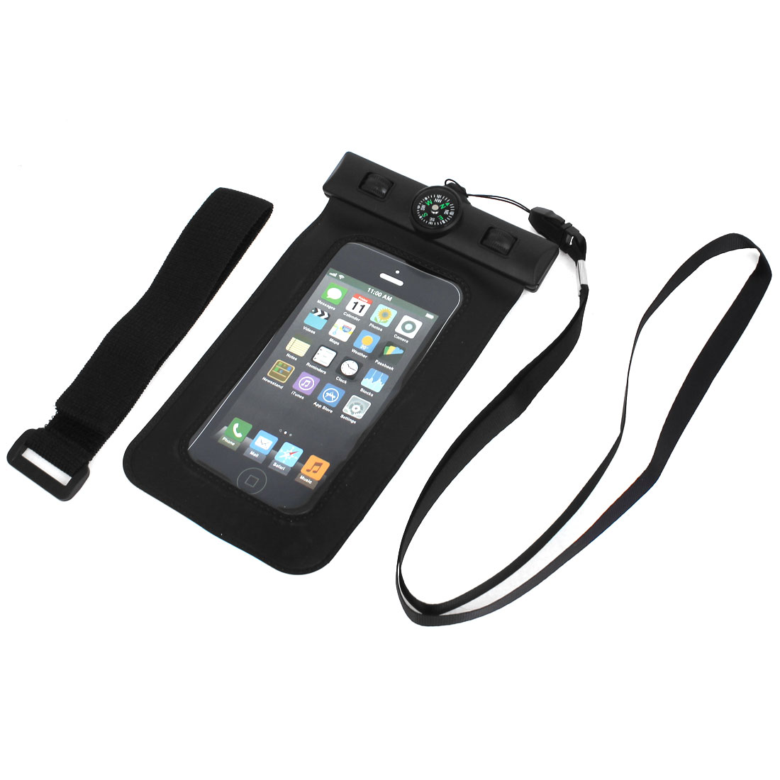 Waterproof Swimming Pouch Bag Case Black for iPhone 6 w Compass