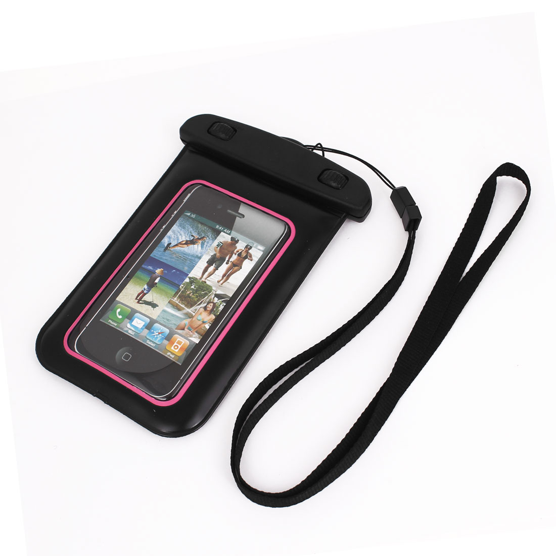 "Waterproof Swimming Pouch Bag Case Pink for 4.5"" Cell Phone w Neck Strap"