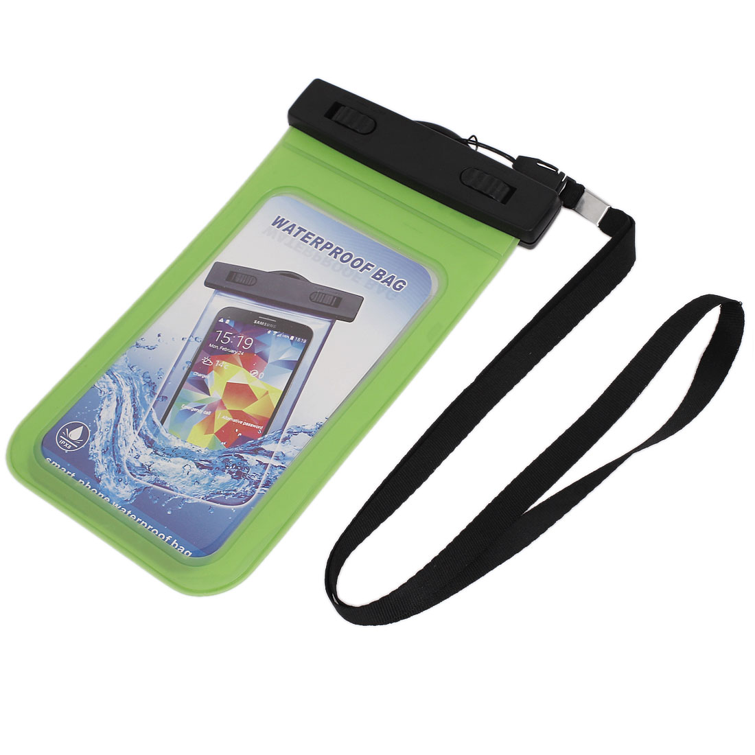 """Waterproof Bag Holder Pouch Green for 5.5"""" Mobile Phone w Neck Strap"""