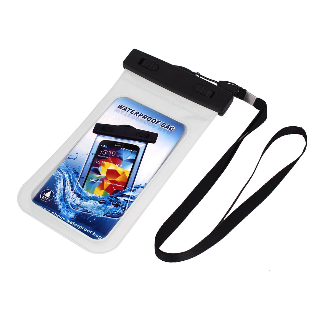 "Waterproof Bag Holder Pouch White for 5.5"" Mobile Phone w Neck Strap"