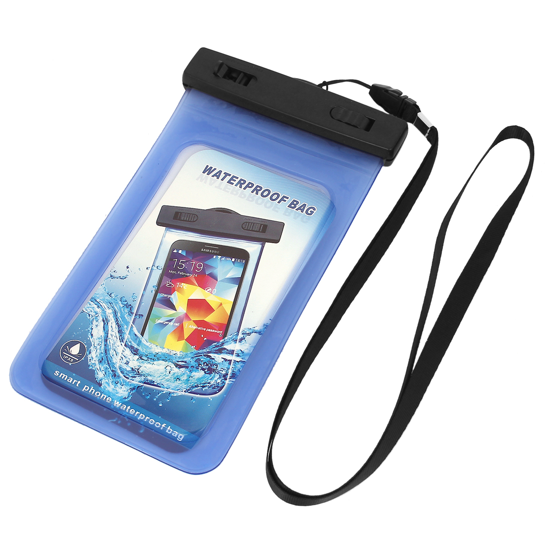 "Waterproof Bag Holder Pouch Blue for 5.5"" Mobile Phone w Neck Strap"