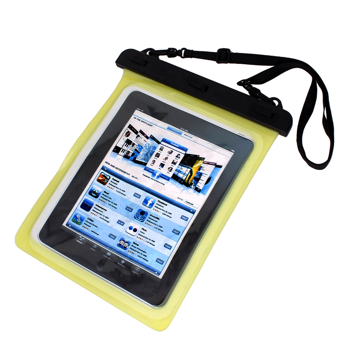 Waterproof Bag Case Holder Pouch Yellow for iPad air 2 w Neck Strap