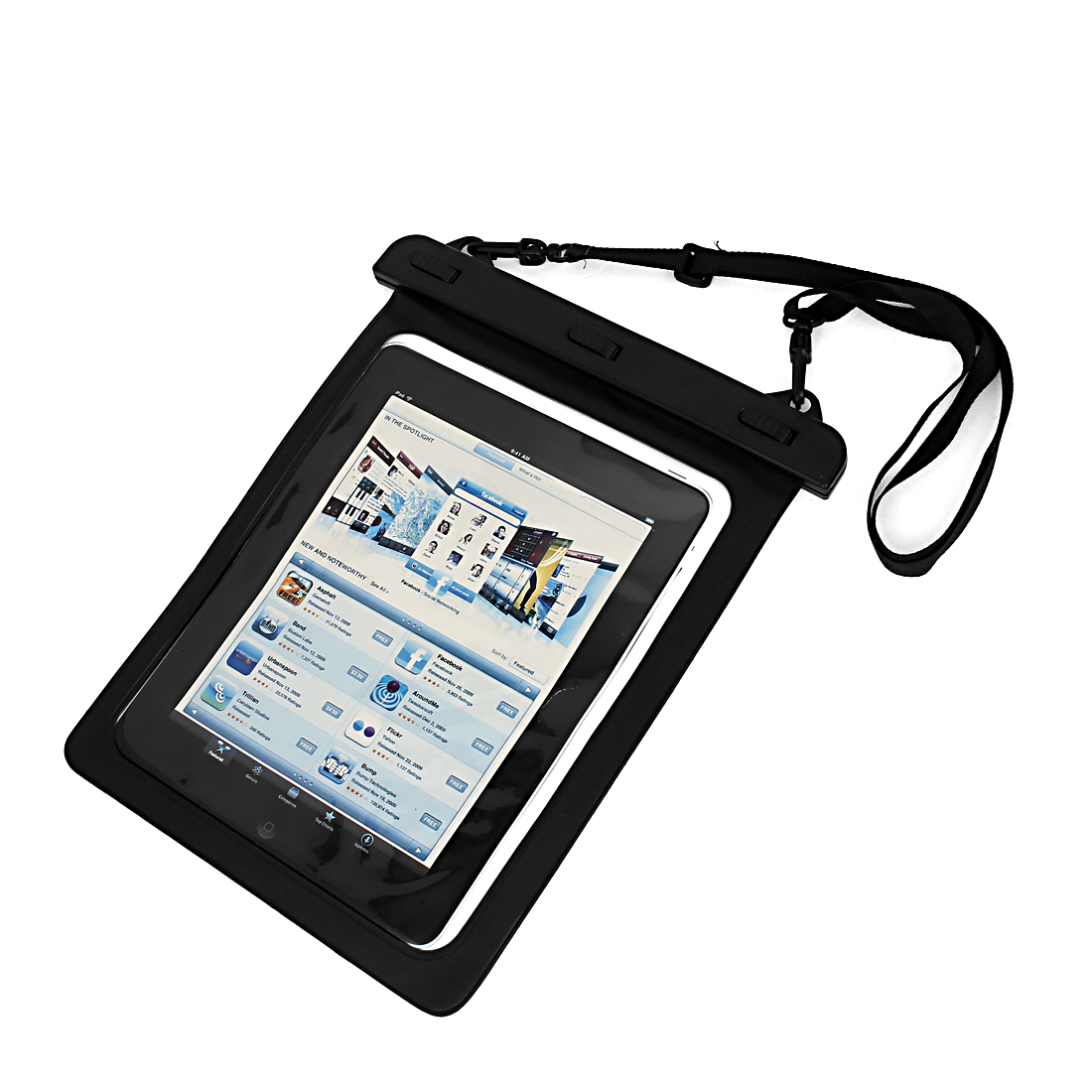 Waterproof Bag Pouch Protector Black for iPad Mini 1/2 w Hook Strip